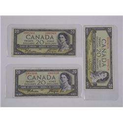 3x Bank of Canada 1954 $20.00 M.P.