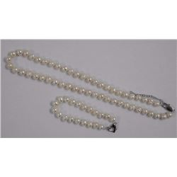 """Ladies Single Pearl Strand 16"""" Knotted W/ Matchin"""