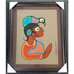 Norval Morrisseau (1931-2007), Original Painting. Acrylic Kraft Paper, Untitled (Boy With Bird) Sign