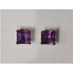 #2-14KT YELLOW GOLD AMETHYST EARRINGS