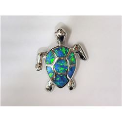 #3-STERLING SILVER CREATED OPAL TURTLE SHAPED