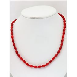 #7-POLYMERIZED CORAL BEADS NECKLACE WITH