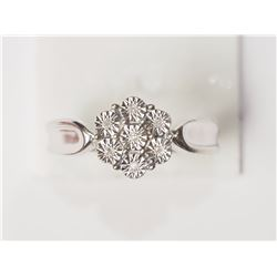 #8-STERLING SILVER 7 DIAMOND FLOWER SHAPED RING