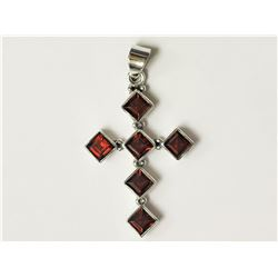 #11-STERLING SILVER GARNET CROSS SHAPED PENDANT