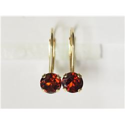 #18-14KT YELLOW GOLD GARNET EARRINGS