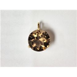 #19-10KT YELLOW GOLD SMOKEY QUARTZ PENDANT