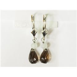 #23-STERLING SILVER SMOKEY QUARTZ BEAD EARRINGS