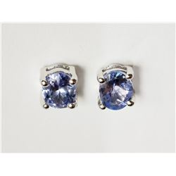 #29-STERLING SILVER TANZANITE STUD EARRINGS
