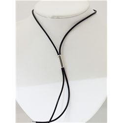 #42-PERSONA BLACK LEATHER LARIAT NECKLACE