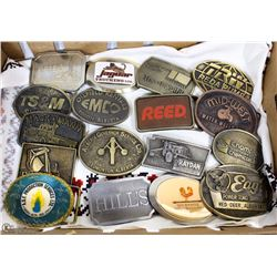 COLLECTION OF 17 OILFIELD AND TRUCKING BUCKLES