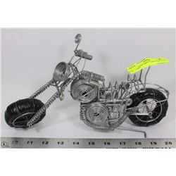 "HAND MADE METAL MOTORCYCLE - 12"" LONG"