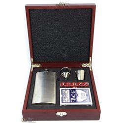 ROSEWOOD BOX W/STAINLESS STEEL FLASK,