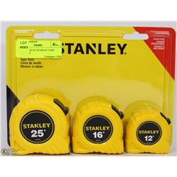 NEW 3 PACK OF STANLEY TAPE MEASURES