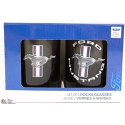NEW SET OF TWO FORD MUSTANG ROCKS GLASSES