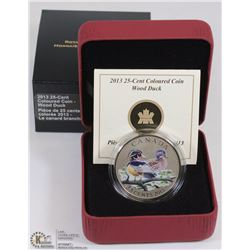 "2013 CANADIAN 25 CENT ""WOOD DUCK"" COLOURED COIN"