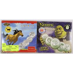 TWO SEALED REEL COINZ SETS: SPIRIT AND SHREK