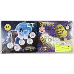 TWO SEALED REEL COINZ SETS: SHREK AND ET