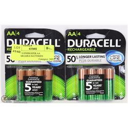 LOT OF 8 DURACELL AA RECHARGEABLE BATTERIES