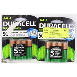 LOT OF 8 DURCELL AA RECHARGEABLE BATTERIES