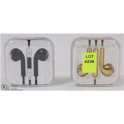 LOT OF 2 NEW EARBUD HEADPHONES WORKS WITH ANY