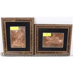 "SET OF 2 GAELIC MUSICIAN & DOG ON COPPER  12""X10"""