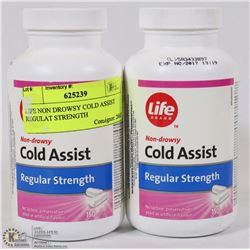 LOT OF 2 LIFE NON DROWSY COLD ASSIST REGULAR STRENGTH