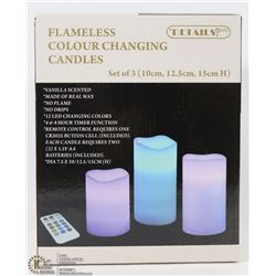 3PK REMOTE CONTROL PILLAR CANDLES