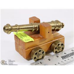 HAND CRAFTED WOOD CANNON WITH BRASS WHEELS