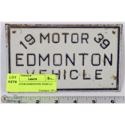 1939 MOTOR EDMONTON VEHICLE PLATE