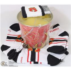 NEW 3 PACK OF CALGARY FLAMES WOMENS SOCKS