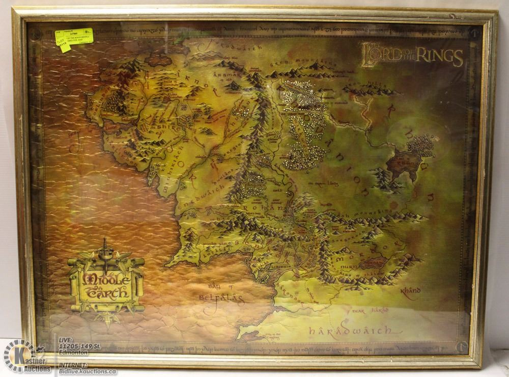The lord of the rings middle earth framed foil map image 1 the lord of the rings middle earth framed foil map gumiabroncs Choice Image