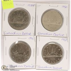 LOT OF 4 CANADIAN 1 DOLLAR COINS