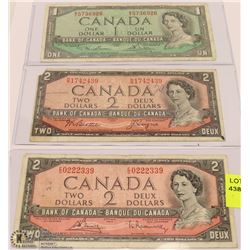 LOT OF 3 CANADIAN  BILLS, TWO $2 BILLS & ONE $1