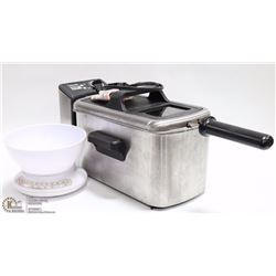 LOT WITH BRAVETTI DEEP FRYER AND KITCHEN SCALE