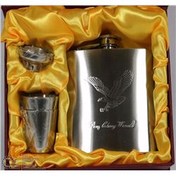 EAGLE ETCHED FLASK GIFT SET