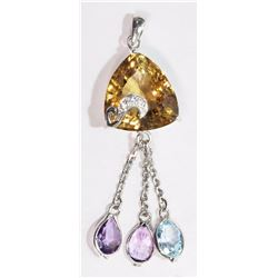 #7-STERLING SILVER CITRINE, AMETHYST AND BLUE