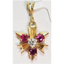 #10-14K YELLOW GOLD RUBY (0.2CT) AND DIAMOND