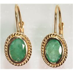 #17-14K YELLOW GOLD EMERALD EARRINGS