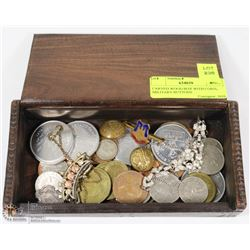 CARVED WOOD BOX WITH COINS, MILITARY BUTTONS