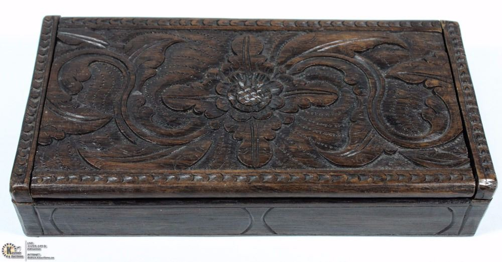 Carved wood box with coins military buttons kastner