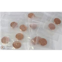 LOT OF 14 RCM SEALED CANADIAN PENNIES INCL YEARS