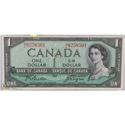 1954 CANADIAN $1.00 BANK NOTE