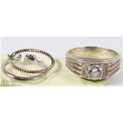 POLICE SEIZURE, .925 MENS  RING WITH 2 SMALLER
