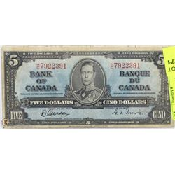 1937 CANADIAN $5 BILL
