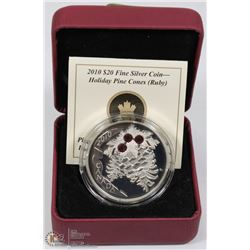 RCM 2010 $20 FINE SILVER COIN HOLIDAY PINE CONES