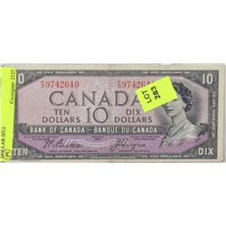 1954 CANADIAN $10 DEVILS FACE  DOLLAR BILL