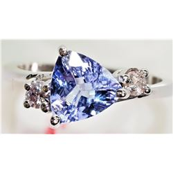 #46-14K WHITE GOLD TANZANITE (2.80CT) AND