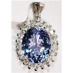 #48-14K WHITE GOLD TANZANITE (3.80CT) AND