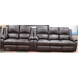 NEW MUNICH LEATHERAIRE RECLINING SOFA AND LOVE