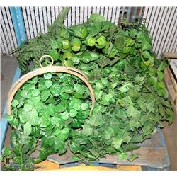 PALLET OF GREENS SILK PLANTS , SOME WITH BRASS